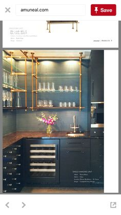 Amuneal open kitchen shelving AMAZING gold stunning