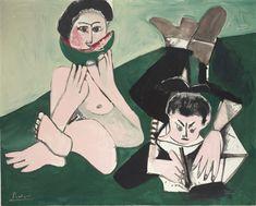 "sade: "" blastedheath: "" Pablo Picasso (Spanish, 1881-1973), Mangeuse de pastèque et homme écrivant [Woman eating watermelon and man writing], 13 May 1965 "" """
