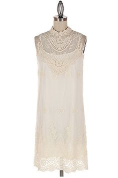 Ever After Lace Neck Dress - Ivory
