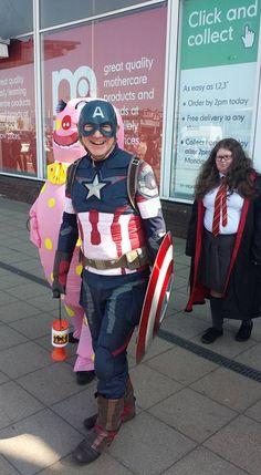 Captain America raising money for charity