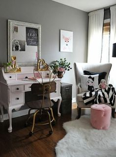 sweet little vintage style pink desk and bunny ear chair add a whimsical touch to this pink black and gray girls room and fun accessories from HomeGoods add the finishing touches to the space. Grey Girls Rooms, Teen Girl Bedrooms, Big Girl Rooms, My New Room, My Room, Pink Desk, Dear Lillie, Home Office, Small Office