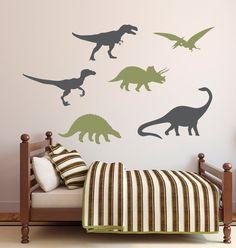 Etiqueta de la pared de los dinosaurios los muchachos de la