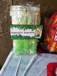DC Super Hero Girls Snack Bar Supergirl's Kryptonite rock candy.