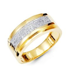 14K Yellow Gold Wedding Anniversary Mens Diamond Ring