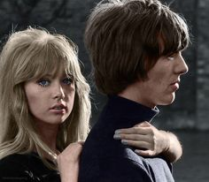 George Harrison and Pattie Boyd, 1965 - colour edit requested by way-beyond-compare!  Photo: Henry Grossman - Places I Remember, My Time With the Beatles