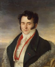 Portrait of Boris Kurakin, 1821 by Marie Gomion (fl. 1815-1824).....the red slashes of his under-waistcoat makes this......and his kindly, avuncular expression and the curled hair...almost as curly as the wool trim of his cloak....an effective, if rather warm, example of layering in men's clothing....