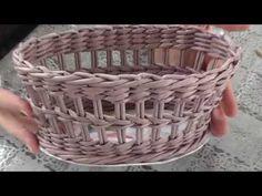 (2798) Простой ажур на стенках корзины. Плетение из газет - YouTube