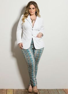 Blazer Feminino Plus Size Branco - Posthaus