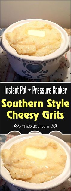 Pressure Cooker Southern Style Cheesy Grits are delicious any time of the day.  How about in less than 15 minutes, without standing over a hot stove? via @thisoldgalcooks