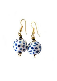 Kazuri Blue Polka Dot Earrings