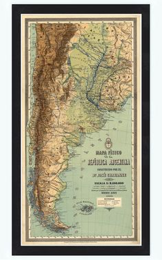Old Map Argentina South America Antique map 1890 by OldCityPrints, $52.00