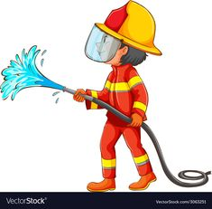 A drawing of a fireman vector image on VectorStock Job Pictures, Adobe Illustrator, Vector Free, Clip Art, Water Hose, Drawings, Lesson Plans, Poem, Illustration