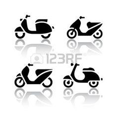 mobylette: Ensemble d'icônes de transport - scooter et mobylette