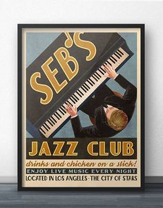 Seb's Jazz Club Retro Vintage Ad Poster Inspired by La