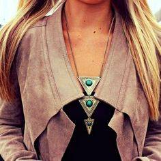 brown jacket with turquoise