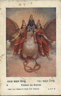 Heritage of India: Lord Vishnu on Garuda vintage postcard