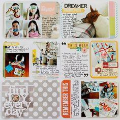 Leena Loh Week 51 right page using Becky Higgins Project Life Seafoam core kit.
