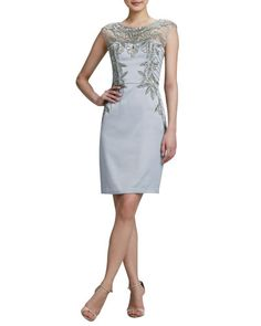 T7R0R Sue Wong Beaded Embroidered Cocktail Dress