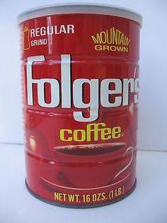 vtg Folgers Coffee can tin w original embossed Lid 1 lb Cincinnati Ohio Folgers Coffee, Coffee Cans, Vintage Recipes, Vintage Food, Coffee Corner, Vintage Coffee, Coffee Break, Fishing Trips, Pantry Ideas