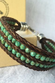 Horse Hair Bracelet with 3 Braids and Czech Glass Beads