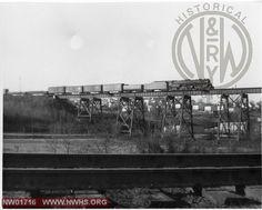 "Class ""A"" , Right Side View, B&W, On Knitting Mills Viaduct @ Lynchburg, VA w/Mixed Freight"