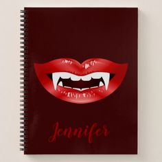 Vampire Mouth And Custom Name On Burgundy Red Notebook - lip gifts unique lips style cyo personalize