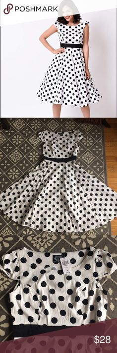 👗 1950s Retro Dancing Polka Dot Swing Dress Fabulous black and white polka dot swing dress by Hearts and Roses London. Fabric has light stretch, built in waist defining band, side zip, puffed cap sleeves, perfect volume for a crinoline. Never worn, brand new with tags, I sized out before I had the chance to wear it. Midi length. UK 12/US 8. Perfect for a pinup girl, rockabilly, retro lover, or dapper day. ModCloth Dresses
