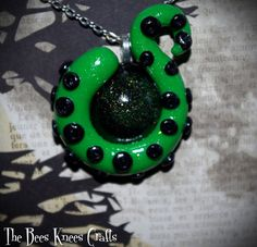 Neon Green and Black Octopus Cthulhu Tentacle Necklace Alt/Lolita/Goth/Occult…