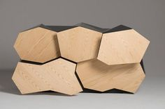 Futuristic Cabinet Of Walnut With Geometrical Lines | DigsDigs