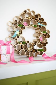 A cool departure from traditional Christmas decorations, this geometric Unique Bubble DIY Wreath wreath is a great conversation piece.