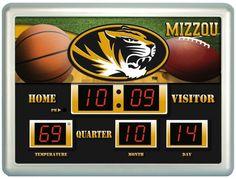"""Missouri Tigers Clock - 14""""x19"""" Scoreboard"""