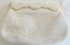 Vintage White Beaded Evening Clutch by Sharonee by JanetsVintageFinds on Etsy