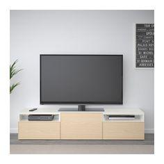 BESTÅ TV unit - walnut effect light gray, Lappviken light gray - IKEA Ikea Entertainment Units, Besta Tv Bank, Grey Drawers, Drawer Runners, Living Room Grey, Tv Unit, Interior Accessories, Storage Spaces, Consoles