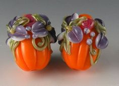 Orange & Purple Floral Autumn PumpkinsHandmade Lampwork by Brilynn, $24.99