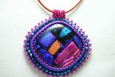 "The Cat's Meow Dichroic Glass ""Too Much Fun"" Necklace 