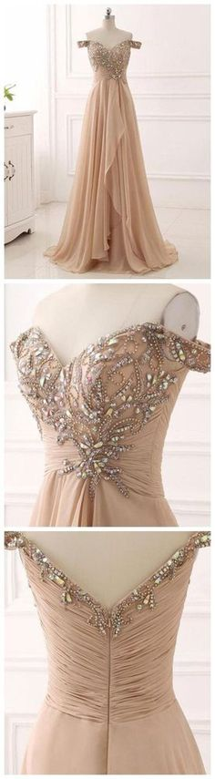 CHIC A-LINE PROM DRESSES LONG OFF-THE-SHOULDER PROM DRESS EVENING DRESSES WITH BEADING G137#prom #promdress #promdresses #longpromdress #promgowns #promgown #2018style #newfashion #newstyles #2018newprom #eveninggown#offshoulder#beadingdress