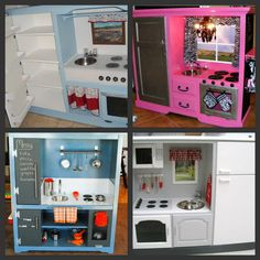 Little Girl Kitchen=Recycled Entertainment Center!!