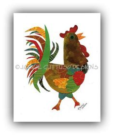 Rooster collage art 8 x 10 Giclee print by JackieGuttusoDesigns