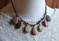 Red River Jasper Teardrop Stones Hand-Knotted on Leather by Jennifer Sadler Designs