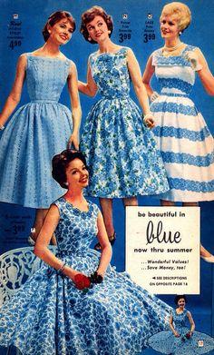 Retro Fashion Blue dresses in the Florida Fashions catalog, 1959 - Page 17 of the Florida Fashions catalog. Fifties Fashion, Retro Fashion, Vintage Fashion, Club Fashion, Womens Fashion, Retro Mode, Vintage Mode, 1950s Style, Retro Style