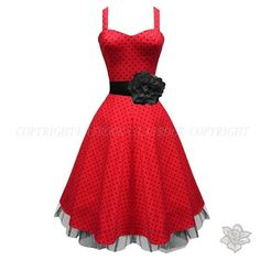 RED BLACK 1950'S MAD MEN ROCKABILLY PARTY VINTAGE JIVE SWING DANCE PROM DRESS by Ebay on Shop For Fun