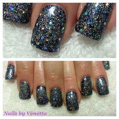 Gel Polish and sprinkled Glitter Acrylic Nails