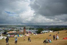 Moody sky looming above Glastonbury Festival 2014