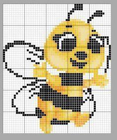 Crochet Bookmark Pattern, Graph Crochet, Crochet Bookmarks, Crochet Stitches, Bee Embroidery, Cross Stitch Embroidery, Cross Stitch Patterns, Cross Stitch For Kids, Cross Stitch Boards