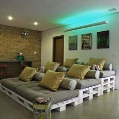 Create your media room seating with crates! Creative #recycling idea...