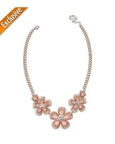 Izaro Peach Flower Frontal Statement Necklace
