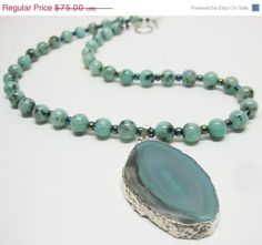 Sale Green Agate Geode Pendant Necklace by MyGemstoneDesigns, $60.00