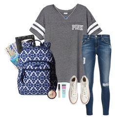 """school"" by gabyleoni ❤ liked on Polyvore featuring Lilly Pulitzer, Victoria's Secret PINK, Mead, AG Adriano Goldschmied, Vera Bradley, Converse, Kendra Scott, Revlon, ULTA and Maybelline"