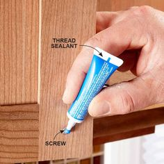Use Thread Sealant to Keep the Screws Tight - How to Install Cabinet Hardware: http://www.familyhandyman.com/kitchen/diy-kitchen-cabinets/how-to-install-cabinet-hardware