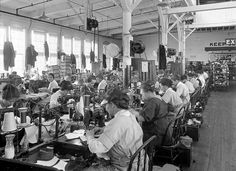 Sewing uppers together. Endicott Johnson Shoe factory, Endicott NY.